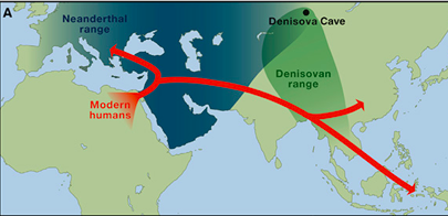 location of denisovans on a map