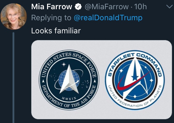 tweet by Mia Farrow